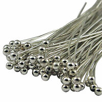 50//100/200X Silver Plated Ball Headpins Head Pins Jewelry Findings DIY 20-60mm
