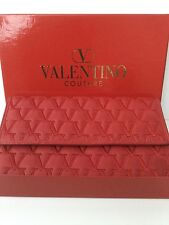 "VALENTINO COUTURE BOXED RED LEATHER 3 FOLD ""V"" LOGO EMBROIDERED PURSE/W"