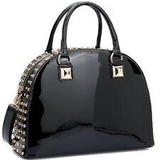New Women Leather Satchel Tote Bags Shoulder Bag Work Handbag Day Purse w/ Studs