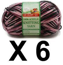 Knitting wool 6 x 100g acrylic yarn 8ply Multi Colour Pink Grey Black Brand New