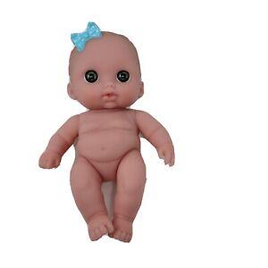 "Berenguer 9"" Vinyl Baby Doll Girl Blue Bow Green Eyes Caucasian"