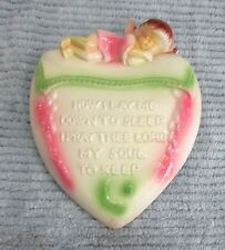 Child Angel Now I Lay Me Down To Sleep Old Chalkware 5x7 Heart Plaque FREE S/H