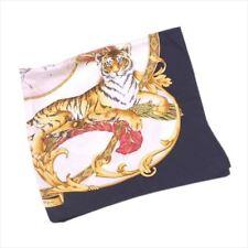 Salvatore Ferragamo scarf Beige Black Woman unisex Authentic Used T6242