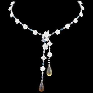 NEW! BRIOLETTE COGNAC & SMOKY QUARTZ, TANZANITE MOTHER OF PEARL 925 SS NECKLACE