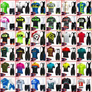 Mens Team Cycling Jersey Bike Bib Shorts Set Padded Shirt Brace Tights Kits