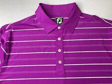 Footjoy FJ Men's Athletic Fit Golf Polo Shirt Purple Striped Size XL