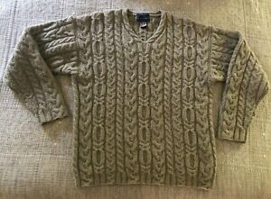 Davis & Squire 100% Shetland Wool Size Men's XL Hand Knitted Cable Chunky Beige