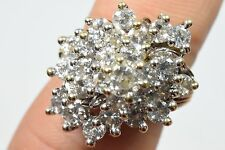 Woman's 10k Solid Gold Twist Shank Cluster Ring Faux Diamond D-VVS1 4.0 tcw