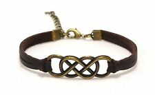 Double Infinity Bracelet with Leather Band, Friendship Bracelet, Unisex Bracelet
