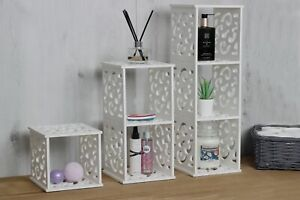 Hanging 2/3 Tier White Shelf Filigree Display Unit Storage Cube Box Home Decor