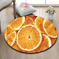 Kitchen Bedroom Round Carpet Lemon Slices Floor Non-Slip Room Bath Door Mat Rug