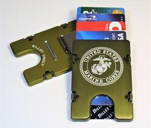 U.S. Marine Corps, Aluminum Wallet/Credit Card Holder, RFID protection, Green