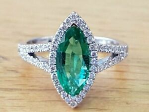 1.5Ct Marquise Cut AAA Emerald Halo Wedding Engagement Ring 14k White Gold Over