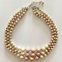 Pink Yellow Peach Pastel Beaded Multi Strand Vintage Necklace Signed Japan