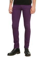XXX RUDE Purple & Black Pinstripe The JOKER Skinny Pants Size 34