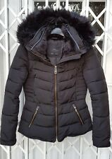 ZARA BLACK ANORAK JACKET COAT SIZE M 10 FUR TRIMMED HOOD PUFFA STYLE EXCELLENT