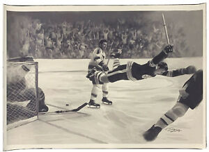 26x38 Bobby Orr Goal Canvas Artwork Print From Original Oil Painting (Jiang)