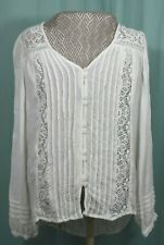 American Eagle Top Woman's White Long Sleeved Size Small Lace
