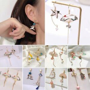 Chinese Style Folding Fan Crane Cloud Hook Earrings Drop Dangle Women Jewelry