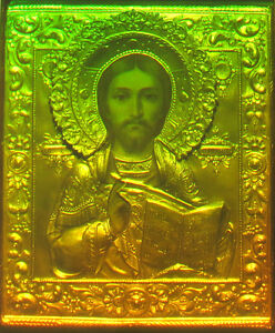 "11x16"" 28x40cm Icon of Christ the Savior - True 3d Laser hologram on Glass"