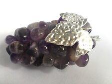 Vintage Semi Precious Gemstone Cluster Grape Bunch w/ leaf Stones