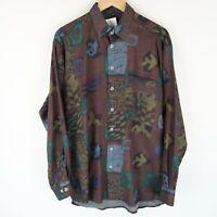 Vintage 90S abstract crazy print festival shirt long sleeve SZ MEDIUM (E4835)