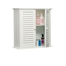 Premier Housewares Bathroom Wall Cabinet With Double Shutter Door 55 X 52 X 22