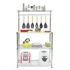 4 Tier Kitchen Bakers Rack Home Furniture Microwave Stand Storage Shelf w/Hooks