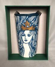 Starbucks Blue Mermaid Gold Crown Ceramic Travel Cup Tumbler 12 Oz 2016 NWB