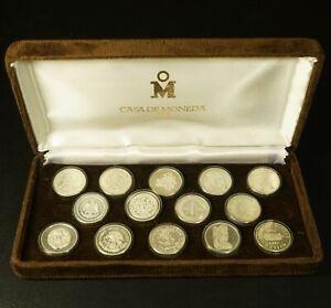 RARE Mexico 1980 Casa De Moneda 445 Anniversary 14 Mini Proof Silver Medals Set
