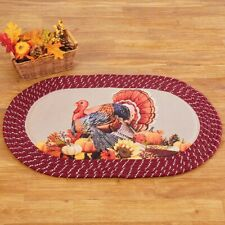 Fall Floral Thanksgiving Turkey Braided Kitchen Home Accent Rug