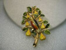 Vintage Gold Tone Partridge in a Pear Tree Enameled Brooch, signed Cadoro, Mid-C