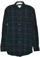 LL Bean Traditional Fit Men's Blue Green Plaid Flannel Button Down Shirt (S Reg)