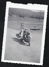 Antique Photograph Two Adorable Little Boys Riding on Toy Tractor in Field