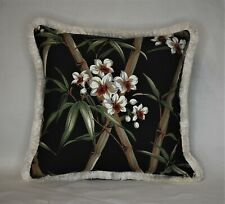 tropical black white bamboo floral decorative throw pillow with ivory fringe