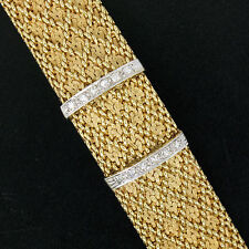 Ladies' Vintage Wittnauer Covered Dress Watch w/ Diamond 14K Gold Weave Bracelet