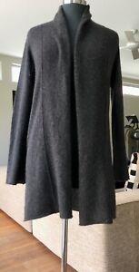 CYNTHIA ROWLEY 100% 2 Ply Cashmere Heathered Charcoal Sweater Coat XS / S EUC