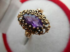 VINTAGE 10K GOLD AND 10X5MM MARQUISE CUT NATURAL AMETHYST RING Sz6 NOT SCRAP