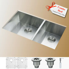 "Combo Deal 29"" Under Mount Double Kitchen Sink 60/40 Split Free Gifts KUS2918D"