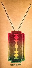 70s Straight Razor Blade Necklace cocaine drugs danger Orig VTG t-shirt iron-on