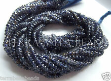 "12.5"" blue IOLITE faceted gem stone rondelle beads 3mm - 4mm WATER SAPPHIRE"