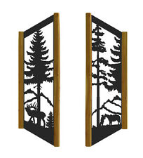 "48"" TALL ELK & HORSE, PINETREE - RUSTIC LOG WINDOW SHUTTERS"