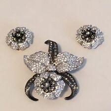 Vintage Nolan Miller Orchid Flower Set Brooch Pin Clip Earring Rhinestone Set