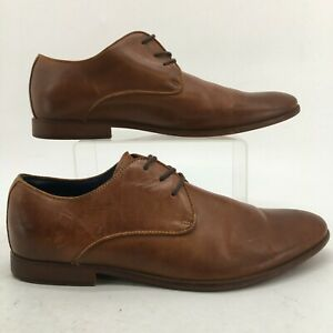 Aldo Derby Dress Shoes Mens 12 Brown Leather Round Toe Lace Up Classic Comfort