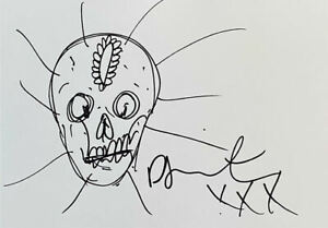 Damien Hirst Artist Hand Drawn 'Skull' Art Sketch 11x8 Drawing Signed