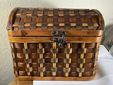 Decorative Basket Woven with Copper or Brass Slats Storage and or Display
