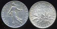 FRANCE 50 centimes   SEMEUSE  1917  SILVER   ( etat )