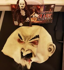 RUBBER  VAMPIRE MASK OVER HEAD HALLOWEEN SPOOKY BLOOD COUNT DRACULA