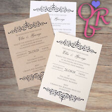 50 Vintage Wedding Invitations Evening Invites Handmade & Personalised Rustic