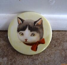 "CAT MAGNET GRAY AND WHITE BIG KITTY 2.25"" STRONG HELPS CAT RESCUE CHARITY"